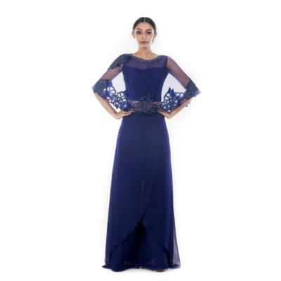 Anushree Agarwal Blue Caped Crop Top and Palazzo