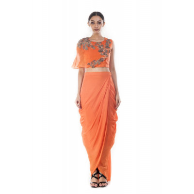 Anushree Agarwal Tangerine Crop Top and Skirt