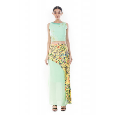 Anushree Agarwal Multi-coloured Floral Print Crop Top and Skirt