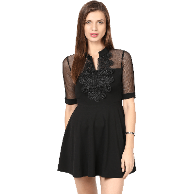 Remanika Band Collar Flared Mini Dress