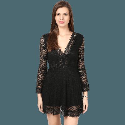 Remanika Lace Flared Mini Dress