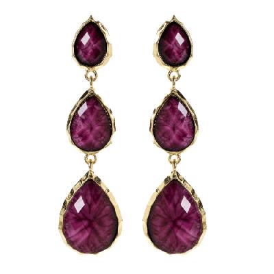 Amrita Singh East Hampton Purple Marbled Resin Earrings