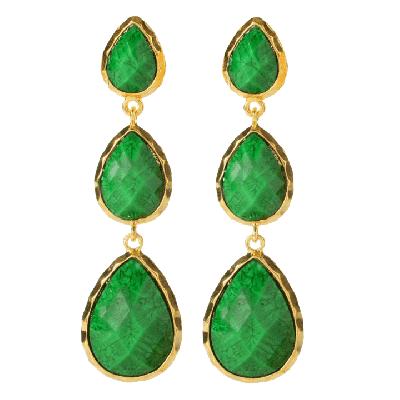Amrita Singh East Hampton Dark Green Marbled Resin Earrings
