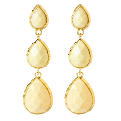 Amrita Singh East Hampton White Marbled Resin Earrings