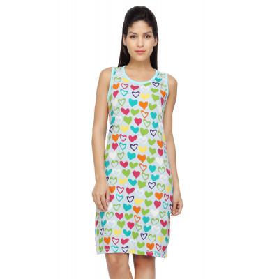 Nuteez 'Flirty' Heart Print Sleeveless Long Tank Top