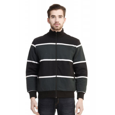 HouseOfFett Green & Black Striped Zipper Jacket