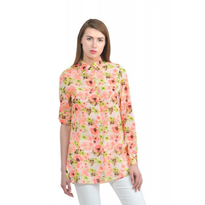 House of Fett Bright Floral Long Shirt