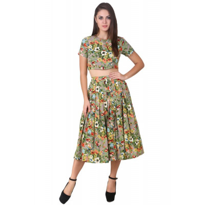 House of Fett Floral Crop Top and Skirt