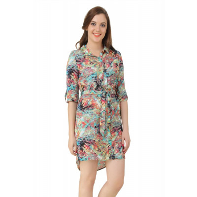 House of Fett Abstract Print Shirt Dress