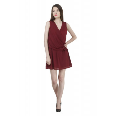 House of Fett Wine Draped Dress