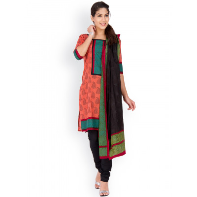 EthnicQueen Maroon And Black Printed Dress Material