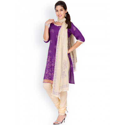 EthnicQueen Purple And White Woven Dress Material