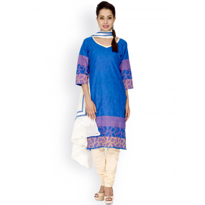 EthnicQueen Blue And White Colour Printed Dress Material.