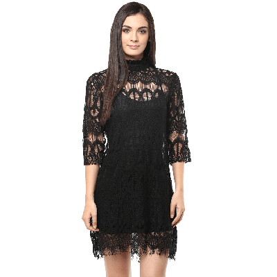 Remanika Band collar Laced Knitted Mini Dress