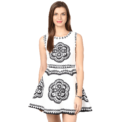 Remanika Printed Knitted Sleeveless Mini Dress