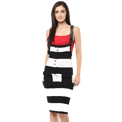 Remanika Striped Dungaree Dress