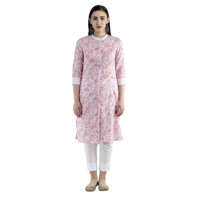 Uptown Galeria Pink and White Floral Print Kurti