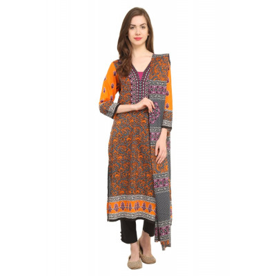 Kesaria by Uptown Galeria Orange Printed Lawn Suit Material