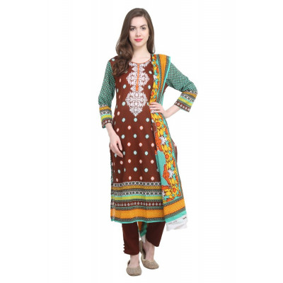 Kesaria by Uptown Galeria Brown and Blue Lawn Suit Material