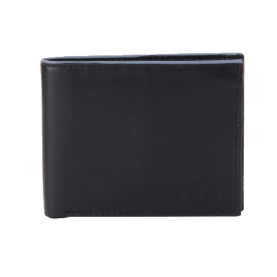 Kaizu Black Leather Wallet With Contrast Piping
