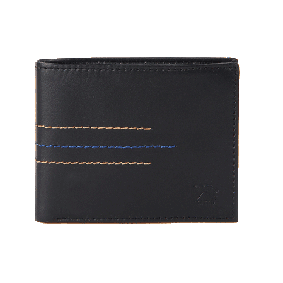 Kaizu Black Leather Wallet with Contrast Stitch