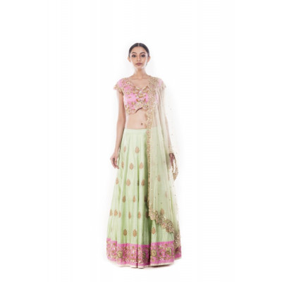 Anju Agarwal Green and Pink Lehenga Set