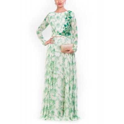 Anju Agarwal Green Crop top Set