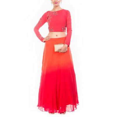 Anju Agarwal Orange/Red Crop Top Skirt Set