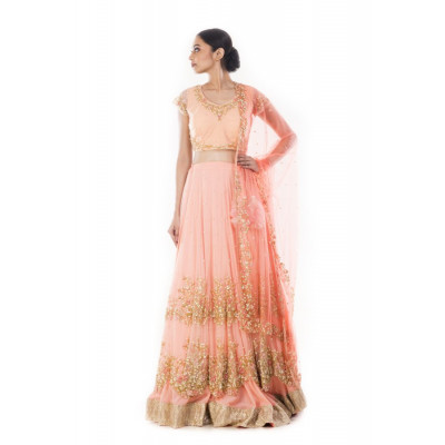 Anju Agarwal Peach Lehenga Set