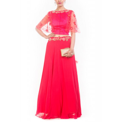 Anju Agarwal Red Crop Top Skirt Set