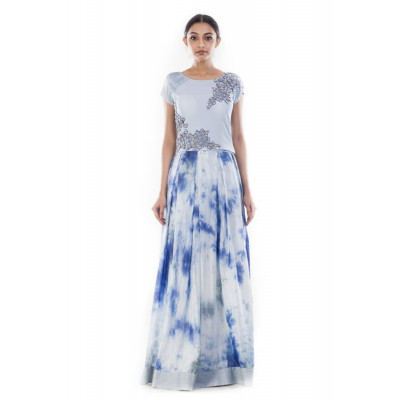 Anju Agarwal Light Steel Blue Crop Top and Skirt