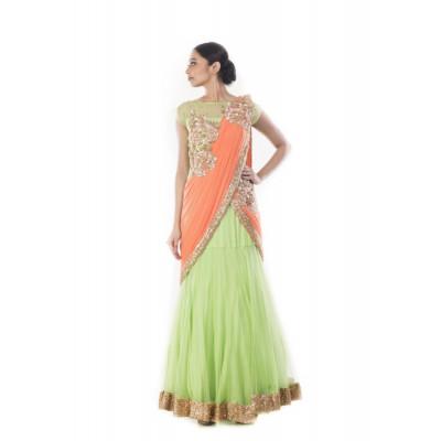 Anju Agarwal Green Saree Gown