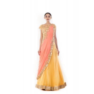 Anju Agarwal Mustard and Peach Saree Gown