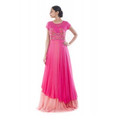 Anju Agarwal Fuchsia Pink Gown
