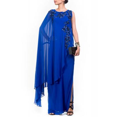 Anju Agarwal Blue Cape Gown