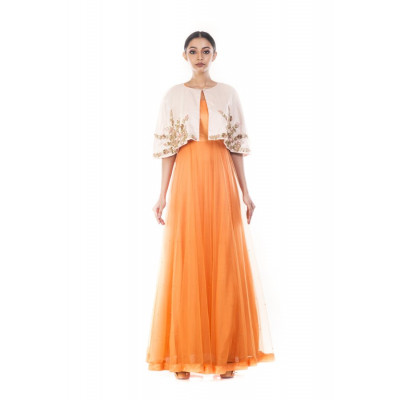 Anju Agarwal Tangerine Gown with Jacket