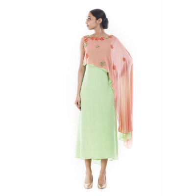 Anju Agarwal Green Dress with Pink Cape