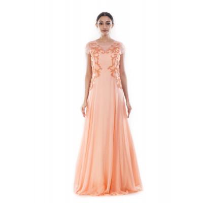 Anju Agarwal Peach Chiffon Gown