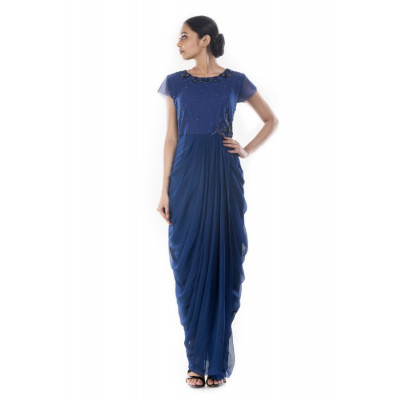 Anju Agarwal Navy Draped Gown