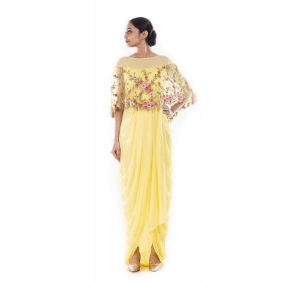 Anju Agarwal Yellow  Gown With Floral Cape