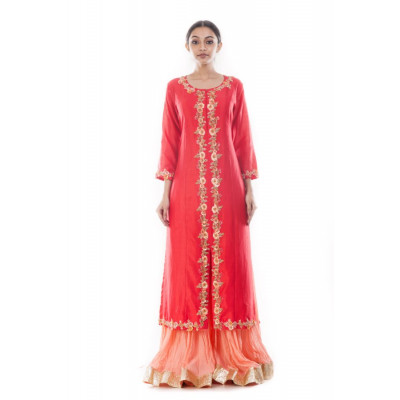 Anju Agarwal Red and Peach Palazzo Suit Set