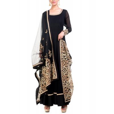 Anju Agarwal Black Anarkali Suit Set