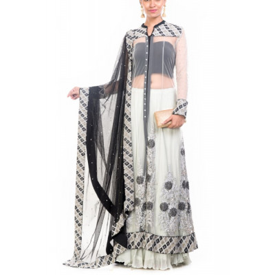 Anju Agarwal Grey & Black Lehenga Set