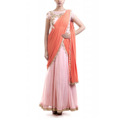 Anju Agarwal Pink and Coral Saree Gown