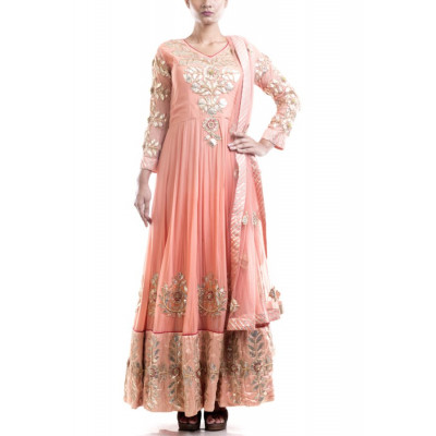 Anju Agarwal Salmon Pink Gota Patti Suit