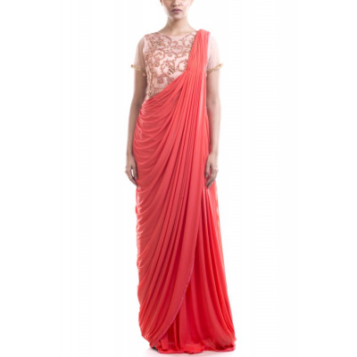 Anju Agarwal Bisque and Tomato Red  Saree Gown