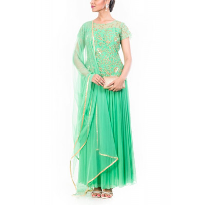Anju Agarwal Green Gown Set