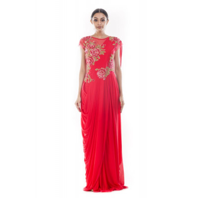 Anju Agarwal Red Saree Gown