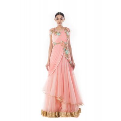 Anju Agarwal Pink Saree Gown