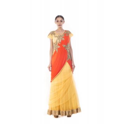 Anju Agarwal Macaroon Yellow and Flaming Peach Saree Gown